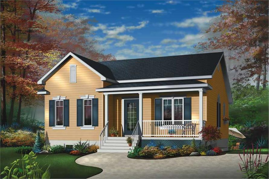 2-Bedroom, 1026 Sq Ft Bungalow House Plan - 126-1571 - Front Exterior