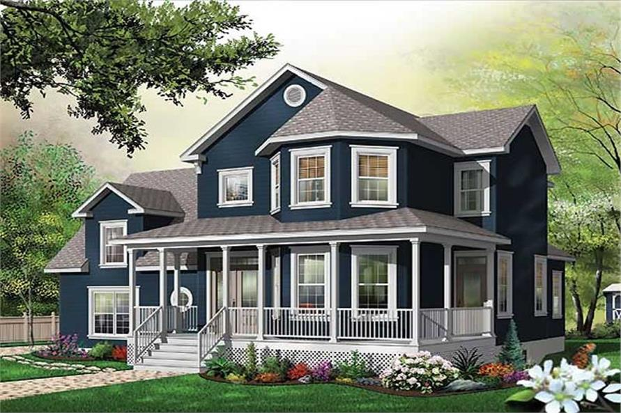 3-Bedroom, 2391 Sq Ft Country Home Plan - 126-1572 - Main Exterior
