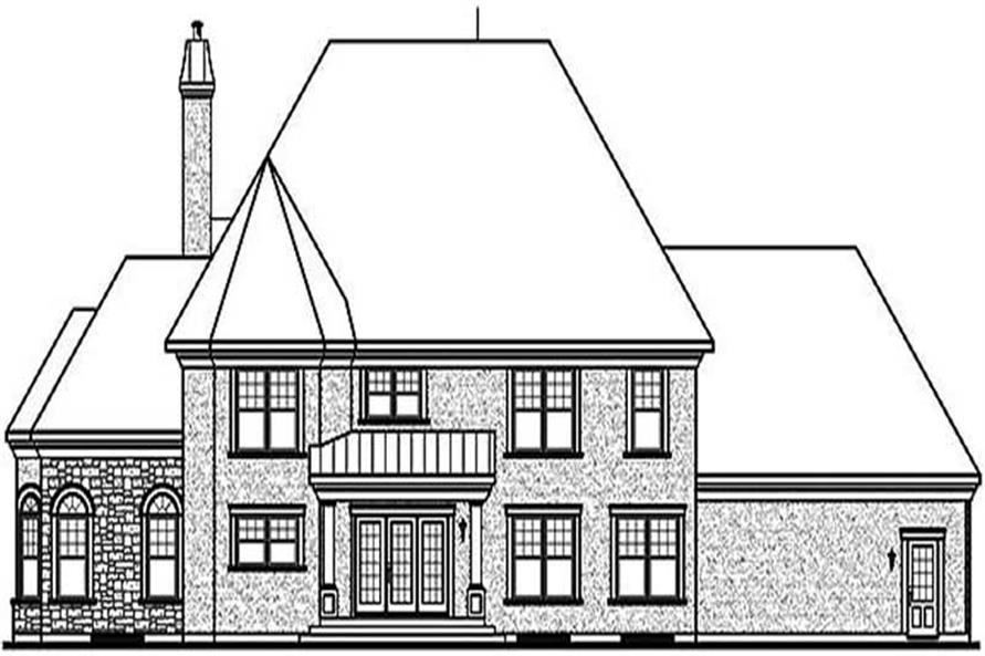 Home Plan Rear Elevation of this 3-Bedroom,3631 Sq Ft Plan -126-1574