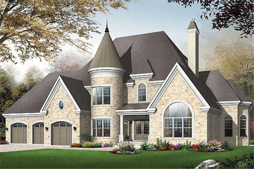 3-Bedroom, 3631 Sq Ft European Home Plan - 126-1574 - Main Exterior