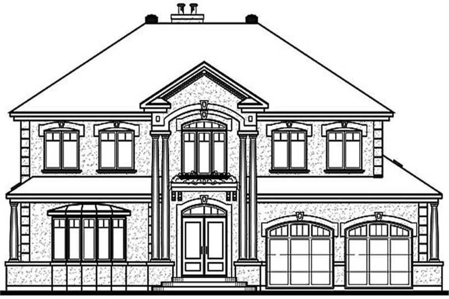 Home Plan Rear Elevation of this 4-Bedroom,3251 Sq Ft Plan -126-1577