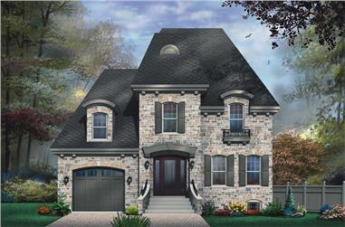 3-Bedroom, 2281 Sq Ft European House Plan - 126-1581 - Front Exterior
