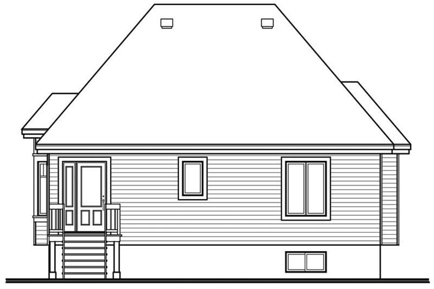 Home Plan Rear Elevation of this 2-Bedroom,1102 Sq Ft Plan -126-1591