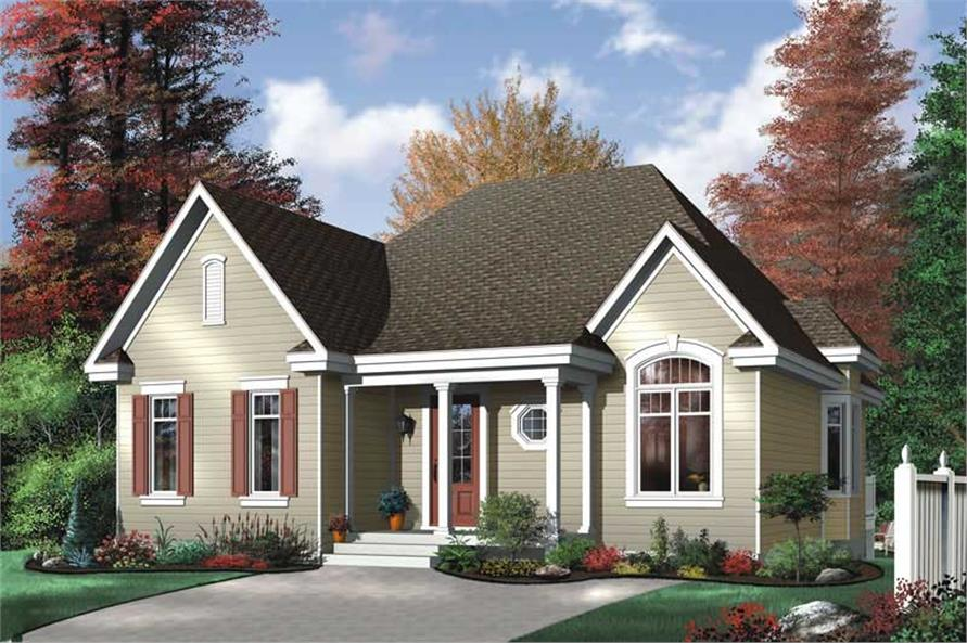 2-Bedroom, 1102 Sq Ft Bungalow House Plan - 126-1591 - Front Exterior