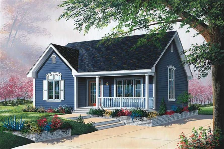 Front elevation of Bungalow home (ThePlanCollection: House Plan #126-1592)