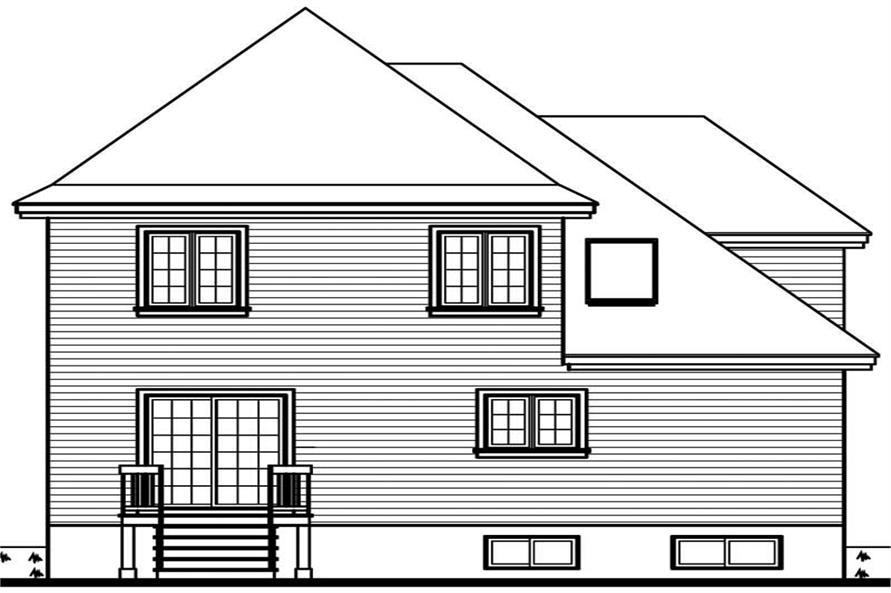 Home Plan Rear Elevation of this 3-Bedroom,1799 Sq Ft Plan -126-1595