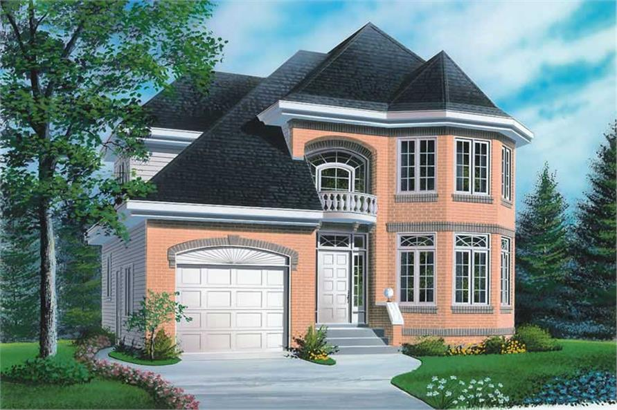 3-Bedroom, 1799 Sq Ft European House Plan - 126-1595 - Front Exterior