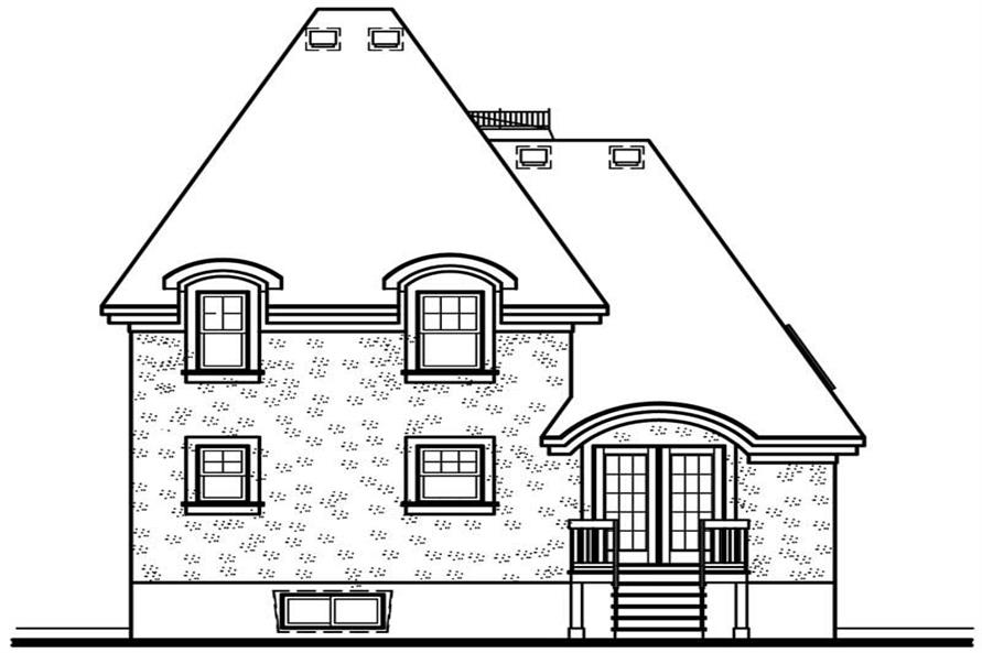Home Plan Rear Elevation of this 3-Bedroom,1630 Sq Ft Plan -126-1597