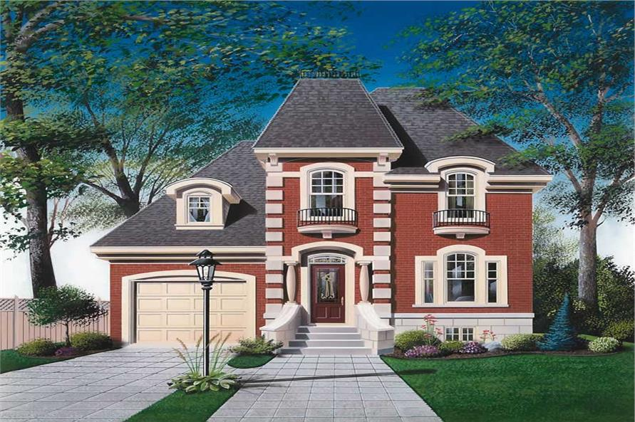 3-Bedroom, 1630 Sq Ft European House Plan - 126-1597 - Front Exterior