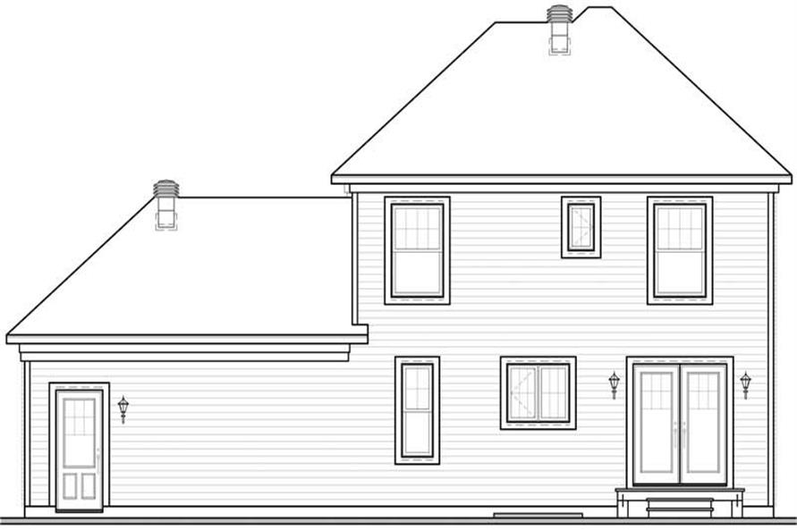 Home Plan Rear Elevation of this 3-Bedroom,1674 Sq Ft Plan -126-1598