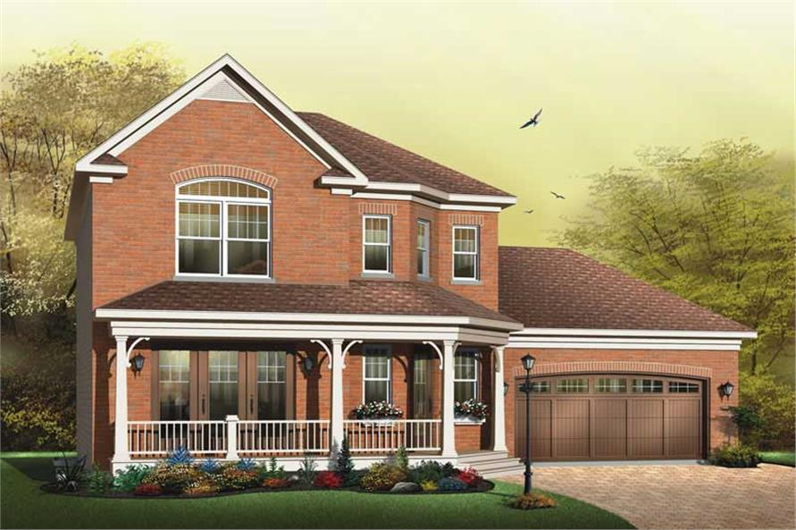 3-Bedroom, 1674 Sq Ft Country Home Plan - 126-1598 - Main Exterior