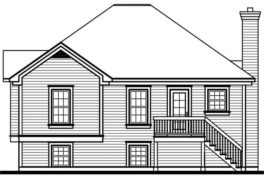 Home Plan Rear Elevation of this 3-Bedroom,1174 Sq Ft Plan -126-1599