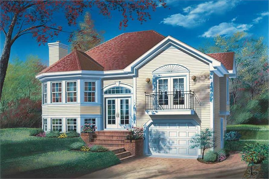 3-Bedroom, 1174 Sq Ft Multi-Level Home Plan - 126-1599 - Main Exterior
