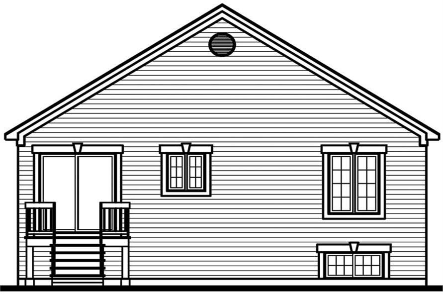 Home Plan Rear Elevation of this 2-Bedroom,991 Sq Ft Plan -126-1604