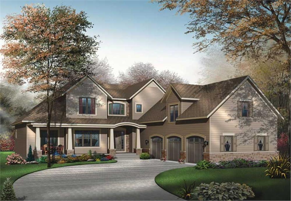 Front elevation of Contemporary home (ThePlanCollection: House Plan #126-1608)