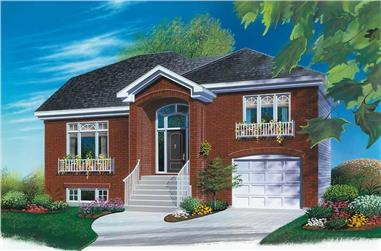 3-Bedroom, 1514 Sq Ft Multi-Level House Plan - 126-1611 - Front Exterior
