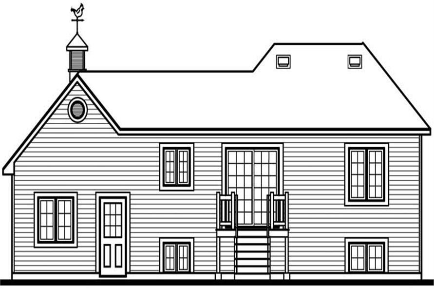 Home Plan Rear Elevation of this 2-Bedroom,901 Sq Ft Plan -126-1612