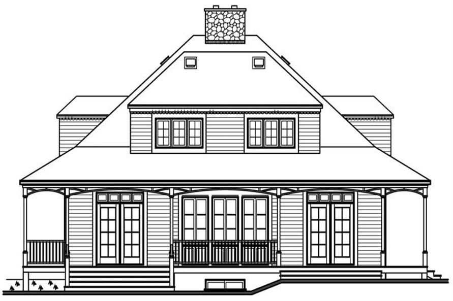 Home Plan Rear Elevation of this 3-Bedroom,2299 Sq Ft Plan -126-1613