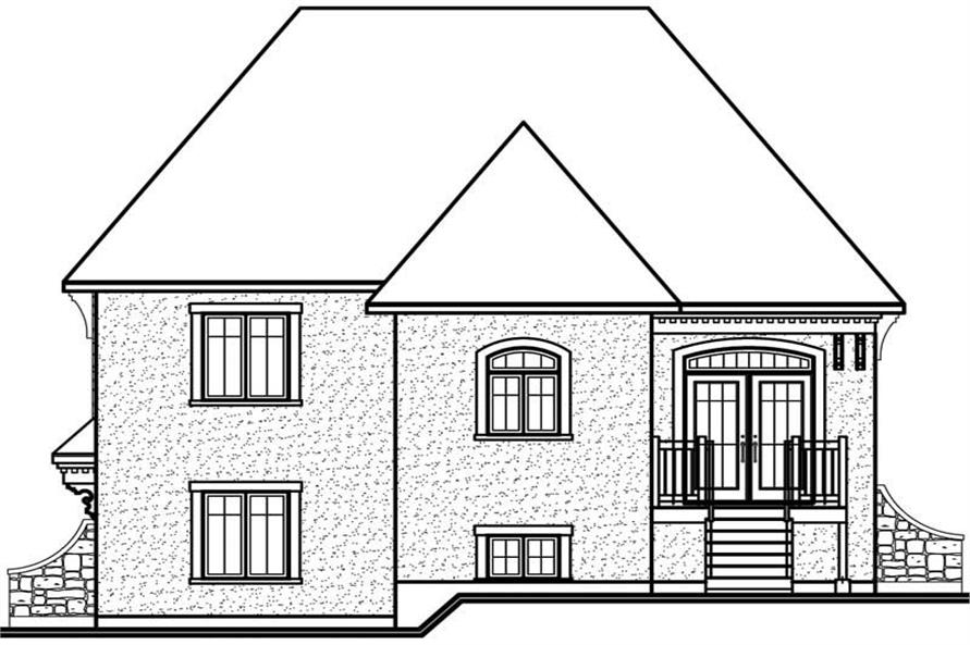 Home Plan Rear Elevation of this 2-Bedroom,1127 Sq Ft Plan -126-1616