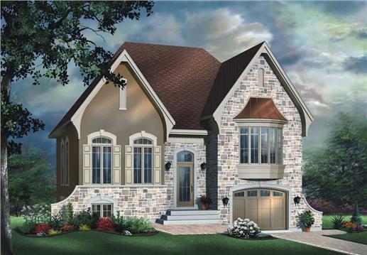 Small, European House Plans - Home Design DD-3425 # 11416