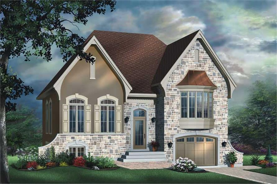2-Bedroom, 1127 Sq Ft European House Plan - 126-1616 - Front Exterior