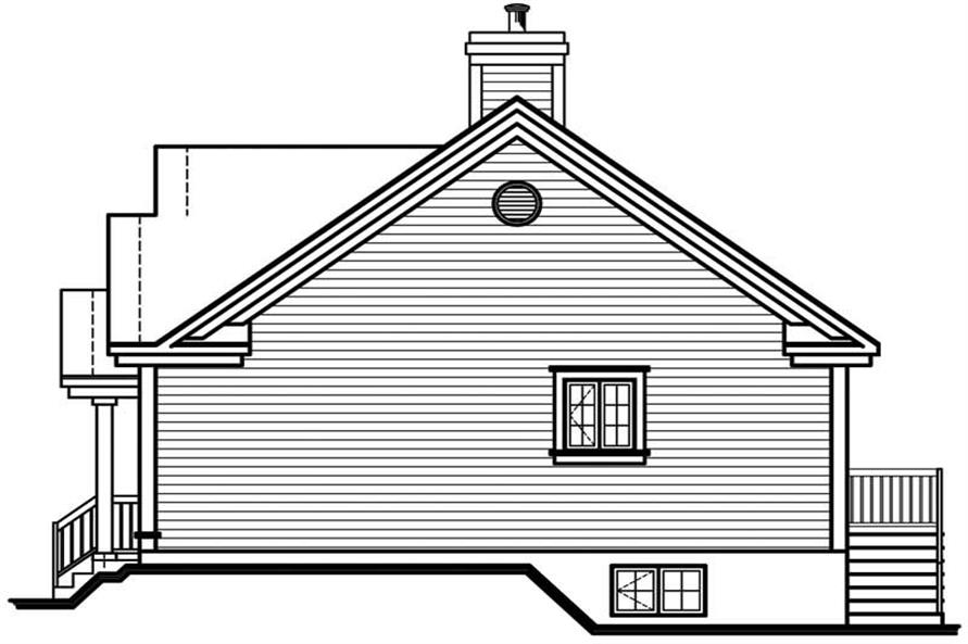 Home Plan Rear Elevation of this 3-Bedroom,1067 Sq Ft Plan -126-1617