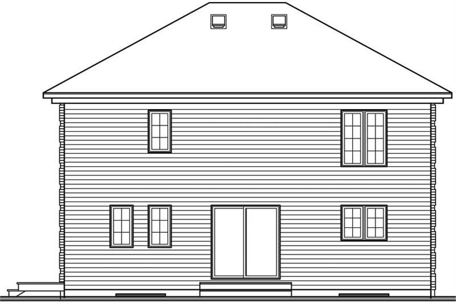 Home Plan Rear Elevation of this 3-Bedroom,1666 Sq Ft Plan -126-1618