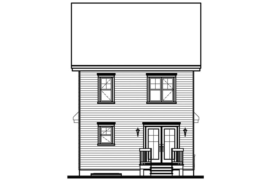 Home Plan Rear Elevation of this 3-Bedroom,1430 Sq Ft Plan -126-1622