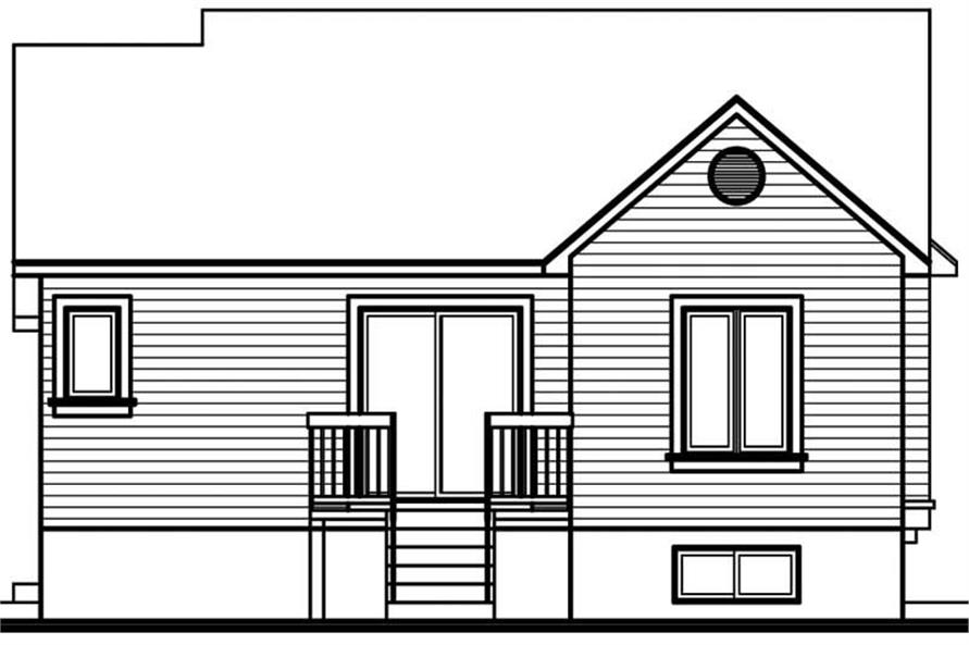 Home Plan Rear Elevation of this 2-Bedroom,940 Sq Ft Plan -126-1633