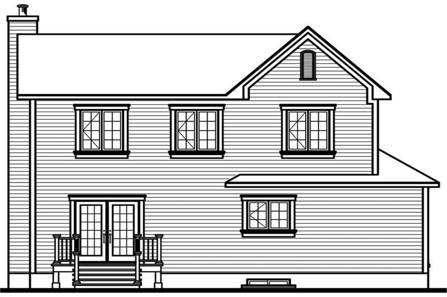Home Plan Rear Elevation of this 3-Bedroom,1888 Sq Ft Plan -126-1634