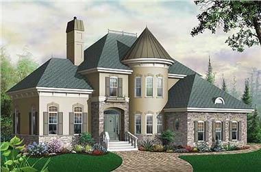 3-Bedroom, 2338 Sq Ft European House Plan - 126-1637 - Front Exterior