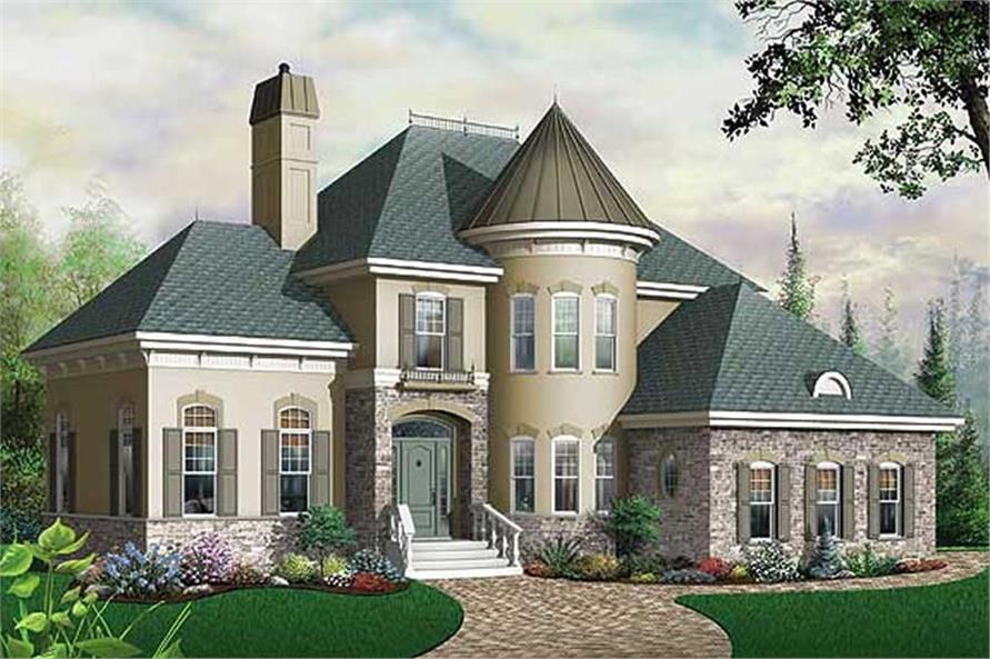 3-Bedroom, 2338 Sq Ft European House Plan - 126-1637 - Front Exterior