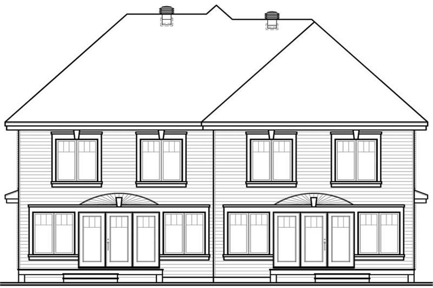 Home Plan Rear Elevation of this 3-Bedroom,3188 Sq Ft Plan -126-1638