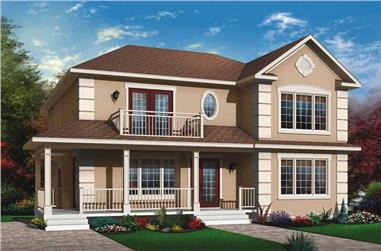 3-Bedroom, 2516 Sq Ft Country Duplex Plan - 126-1639 - Front Exterior