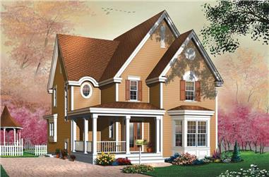 3-Bedroom, 1744 Sq Ft Country House Plan - 126-1640 - Front Exterior