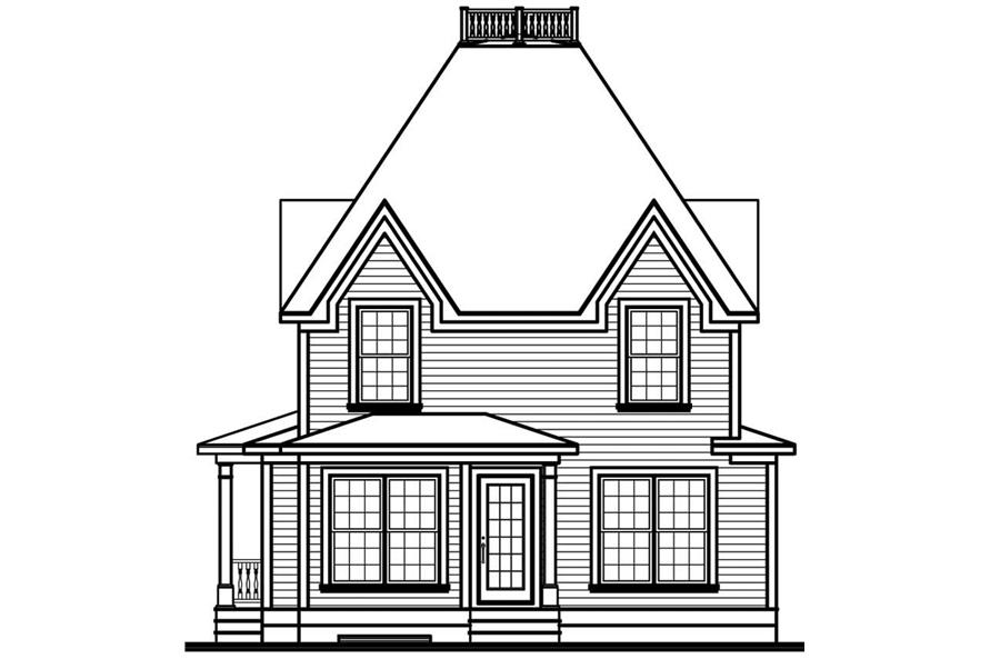Home Plan Rear Elevation of this 3-Bedroom,1603 Sq Ft Plan -126-1641