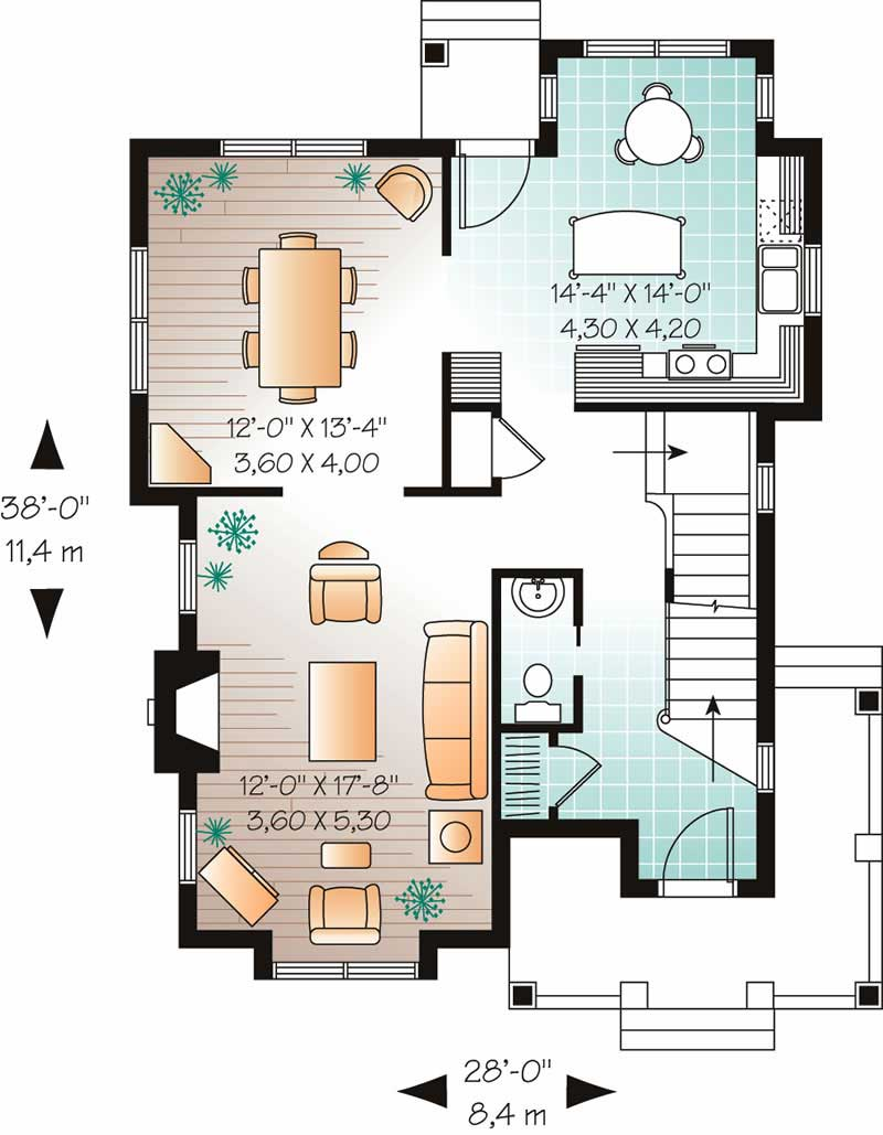 Country home plan 3 bedrms 1 5 baths 1603 sq ft for Monarch homes floor plans