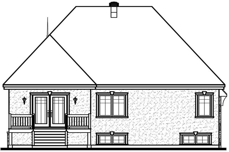 Home Plan Rear Elevation of this 2-Bedroom,1246 Sq Ft Plan -126-1642