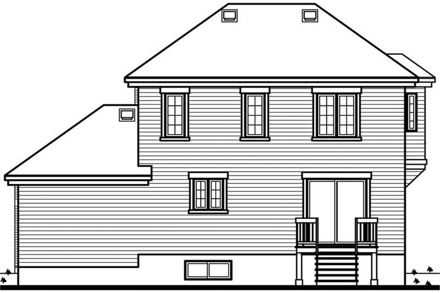 Home Plan Rear Elevation of this 3-Bedroom,1562 Sq Ft Plan -126-1643