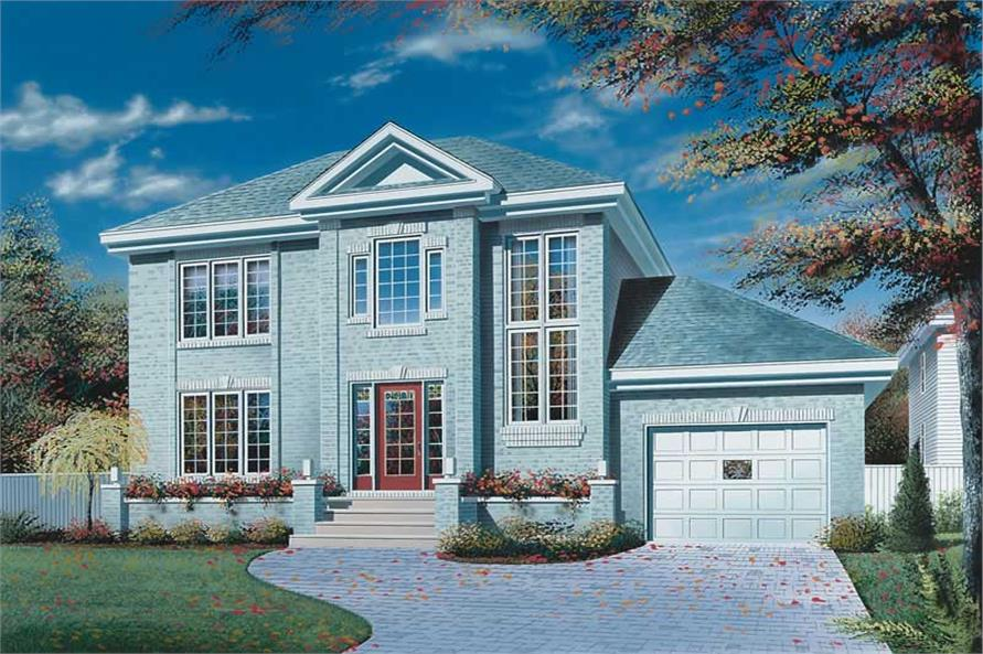 3-Bedroom, 1562 Sq Ft European House Plan - 126-1643 - Front Exterior