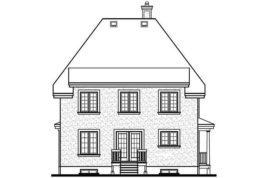 Home Plan Rear Elevation of this 4-Bedroom,1909 Sq Ft Plan -126-1646