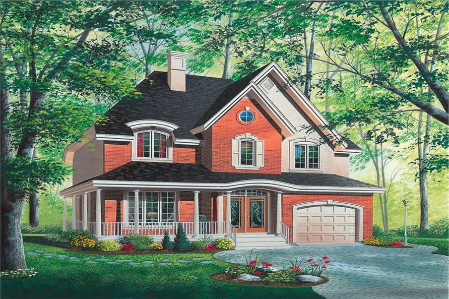 4-Bedroom, 1909 Sq Ft Country House Plan - 126-1646 - Front Exterior