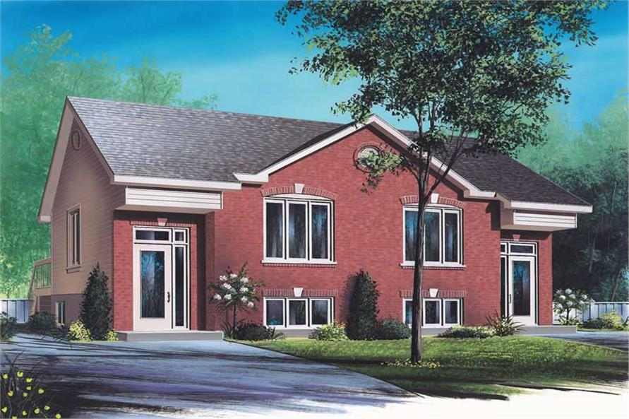 3-Bedroom, 2504 Sq Ft Multi-Unit House Plan - 126-1654 - Front Exterior