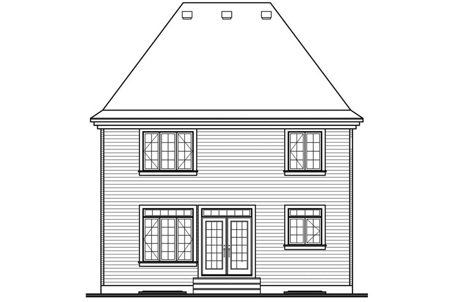 Home Plan Rear Elevation of this 3-Bedroom,1650 Sq Ft Plan -126-1657