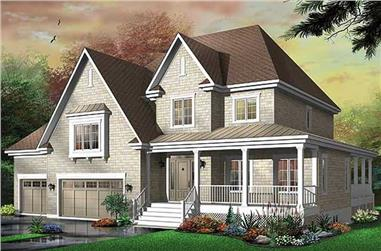 3-Bedroom, 3805 Sq Ft Country House Plan - 126-1659 - Front Exterior