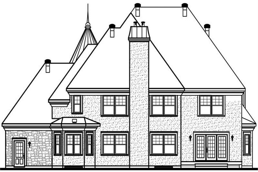 Home Plan Rear Elevation of this 3-Bedroom,3899 Sq Ft Plan -126-1661