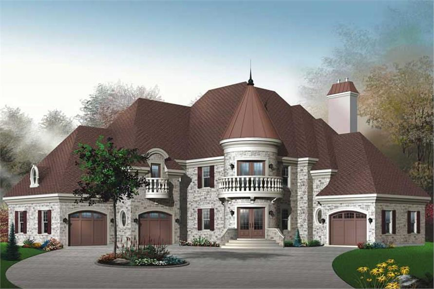 3-Bedroom, 3899 Sq Ft European Home Plan - 126-1661 - Main Exterior