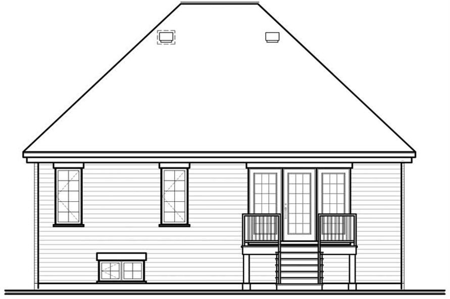 Home Plan Rear Elevation of this 2-Bedroom,1098 Sq Ft Plan -126-1666