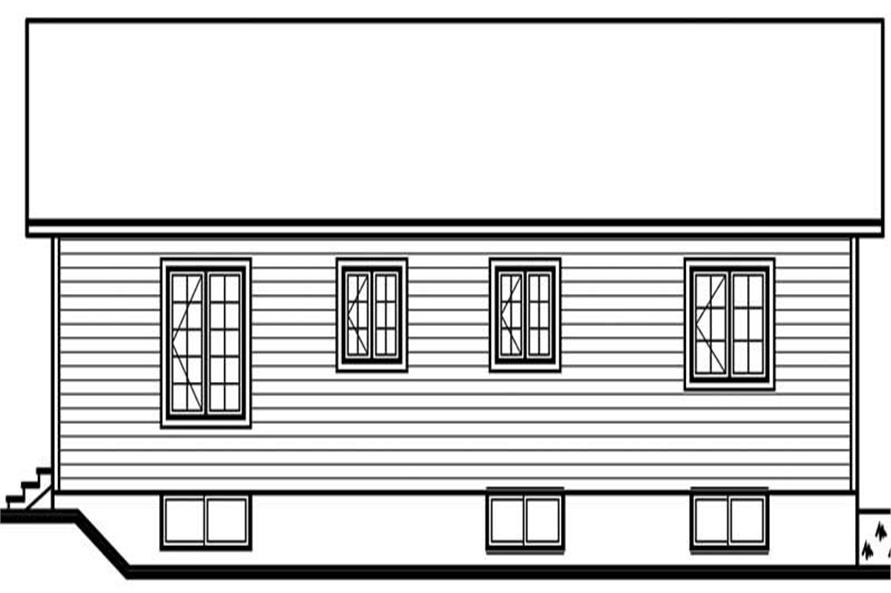Home Plan Rear Elevation of this 1-Bedroom,1092 Sq Ft Plan -126-1667