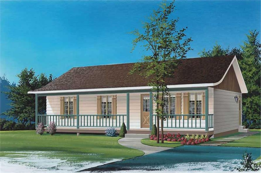 1-Bedroom, 1092 Sq Ft Small House Plans - 126-1667 - Main Exterior